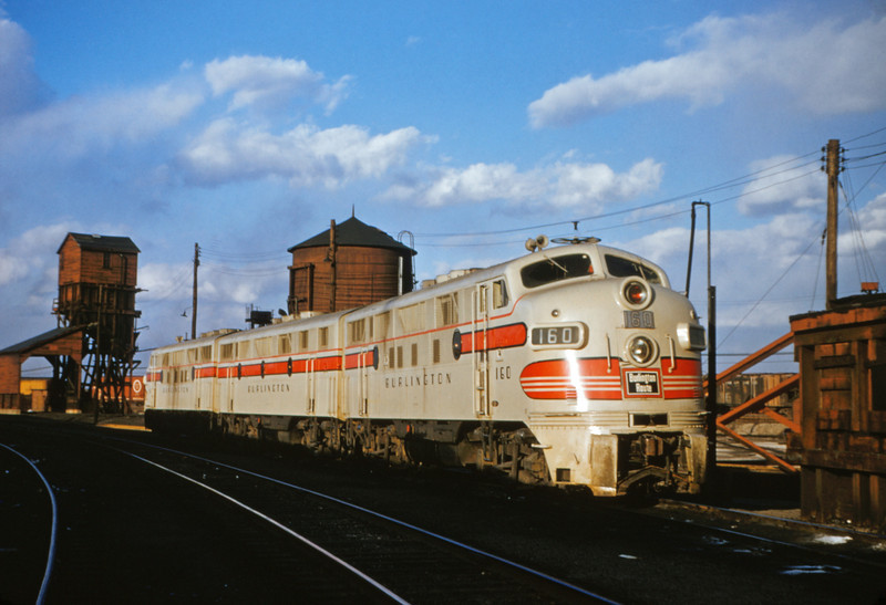 CB&Q 3 - Mar 6 1955 - EMD freight unit No 160 @ E St Louis ILL