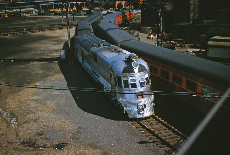 CB&Q 31 - May 19 1956 - Train 43 with Loco 9908 leaving Union Station St Louis MO - by Jim Ozment