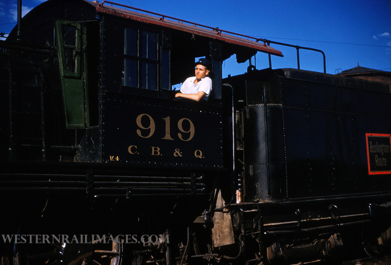 CB&Q 49 - July 21 1956 - Jim Ozment in cab of loco 919 4-6-0 in Cheyenne WY - by Jim Ozment
