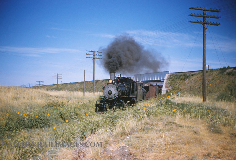 CB&Q 50 - July 21 1956 - loco 919 passing under UP mainline out of Cheyenne WY - by Jim Ozment