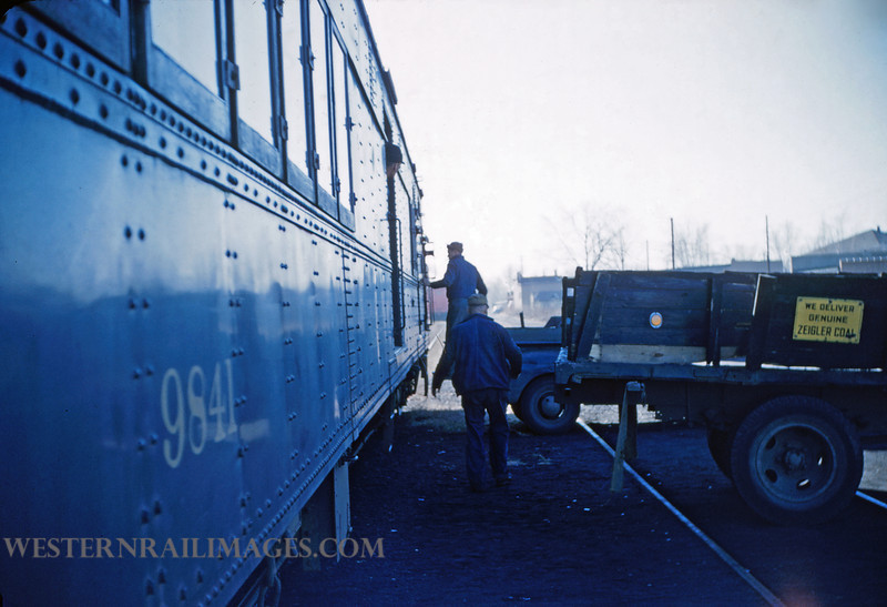 CB&Q 13 - Dec 30 1955 - Unloading Baggage Car 9841 @ Ziegler ILL - by Jim Ozment