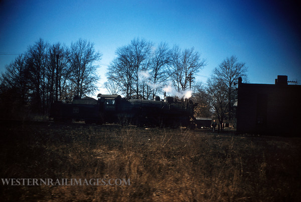 CB&Q 17 - Dec 30 1955 - Loco 4988 2-8-2 in Roundhouse @ West Frankfort ILL - by Jim Ozment
