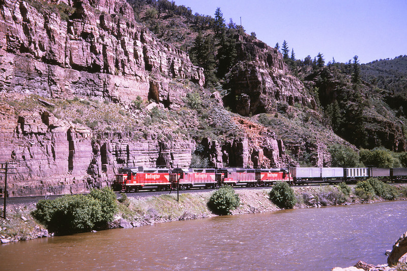 CB&Q 100 - June 3 1966 - GP 30-35 units eastbound in Glenwood Canon COLO