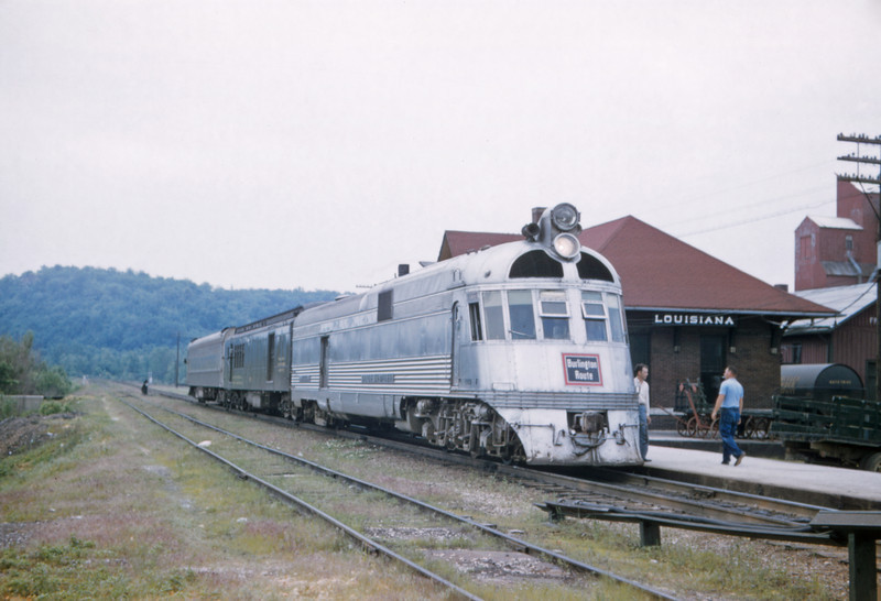 CB&Q 73 - Jun 4 1957 - Eng 9908 Train No 43 The Silver Charger @ Louisiana MO