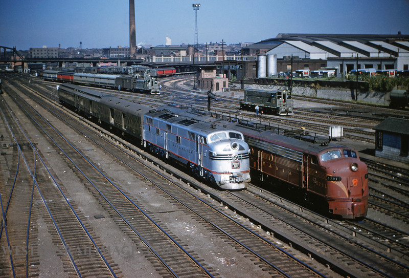 CB&Q 1 - Sep 2 1954 - EMD no 9925b on train 43 & Loco 5791 @ 14th street St Louis MO - by Jim Ozment