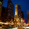 Chicago Water Tower on Michigan Avenue at night