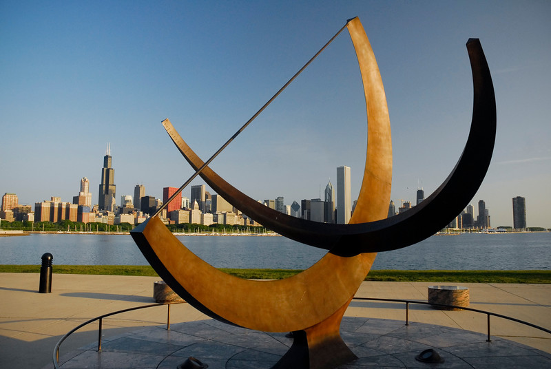 Public Art with Chicago skyline in background