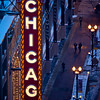 Chicago Theater sign in winter