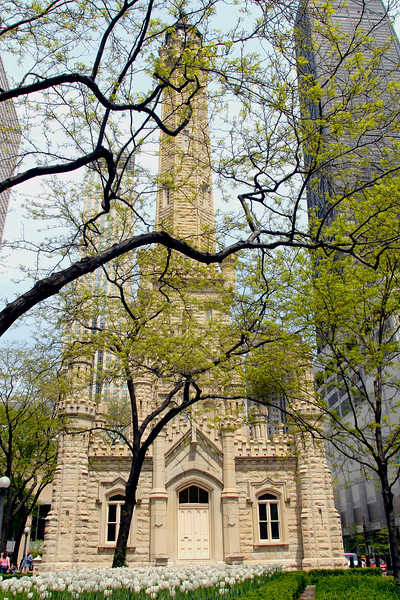 View of the Chicago Water Tower and Pumping Station on Chicago's magnificent mile