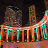 Millennium Park peristyle Wrigley Square with holiday lights lighting night