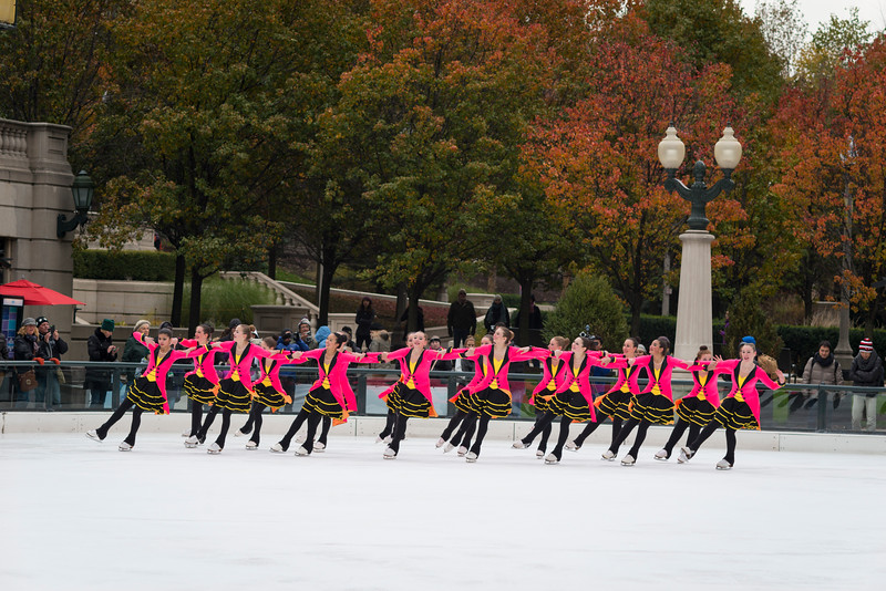 Millennium Park Ice Skating rink iceskating costumes women ladies synchronized group performance pullman