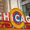 Detail of the Chicago Theatre marquee sign.