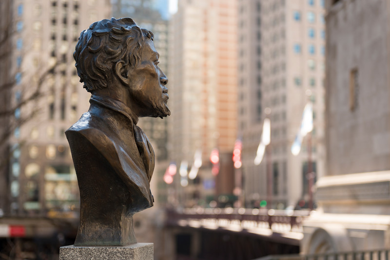 "Public Art Collection ""Jean Baptiste Pointe DuSable"" sculpture by Erik Blome at Michigan Avenue bridge Chicago history first settler"