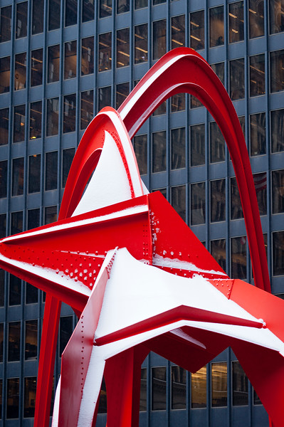 Alexander Calder's 'Flamingo,' which stands 53 feet tall in the Federal Plaza, in front of the Kluczynski Federal Building.