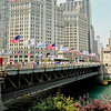 Michigan Avenue bridge on the north bank of the Chicago River with a view of the Wrigley Building