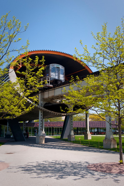 A CTA Green Line train passes through the tunnel above of the McCormick Tribune Campus Center on the campus of IIT.