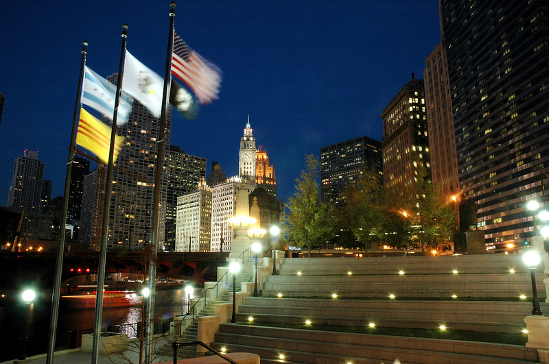 Vietnam Veterans' Memorial Plaza located near the lower level of Wacker Drive at State Street on the Chicago River