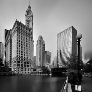 Black and White view o Wrigley Tower, Chicago