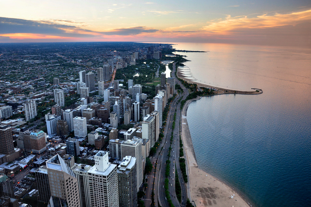 Sunset over Chicago beach viewed from above