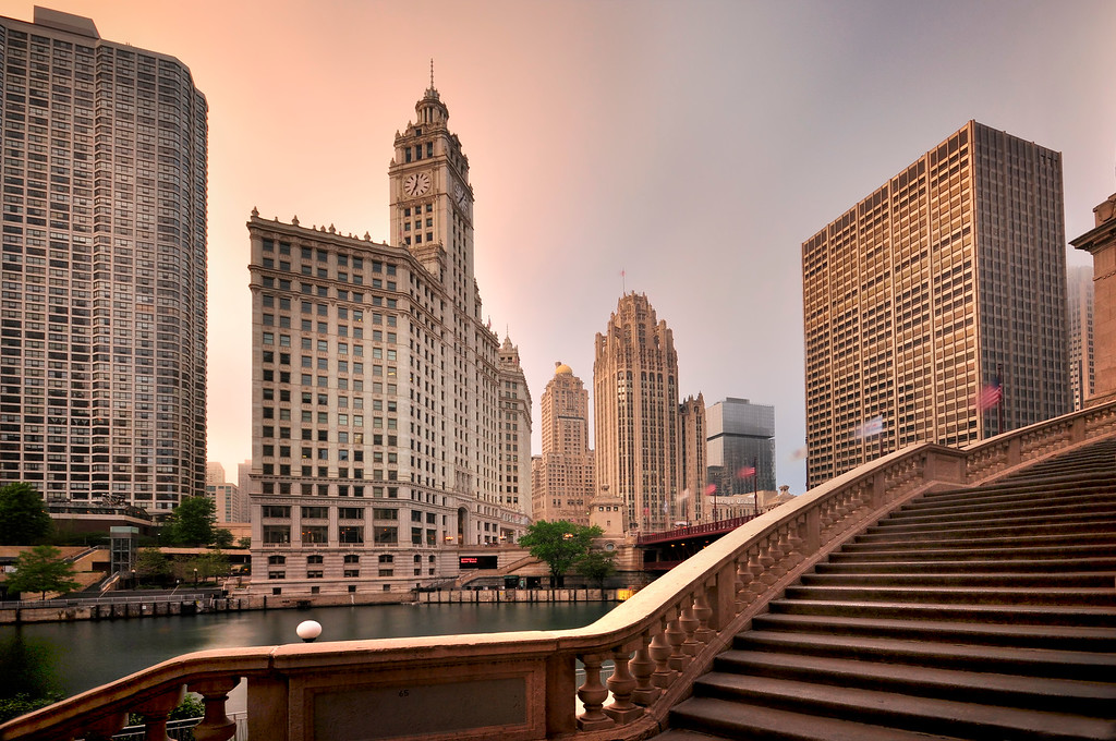 Staircase in front of Chicago River, Illinois
