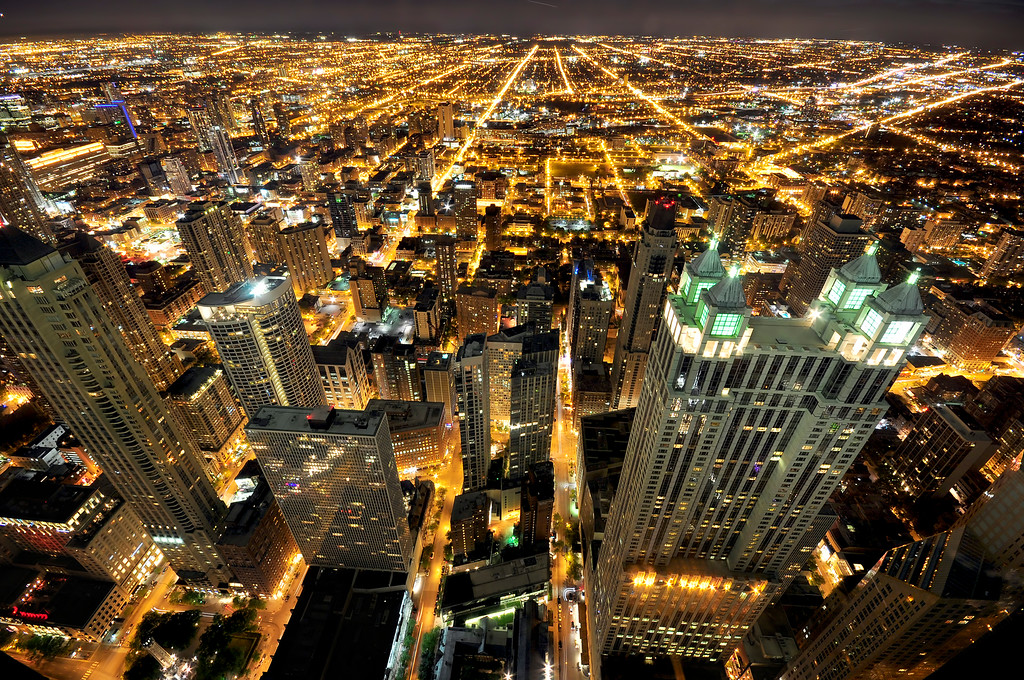 City of Chicago at night viewed from John Hancock observatory