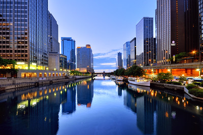 Chicago river at dusk, Chicago, Illinois