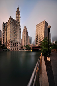 Long Exposure shot of Chicago skyline and Chicago river