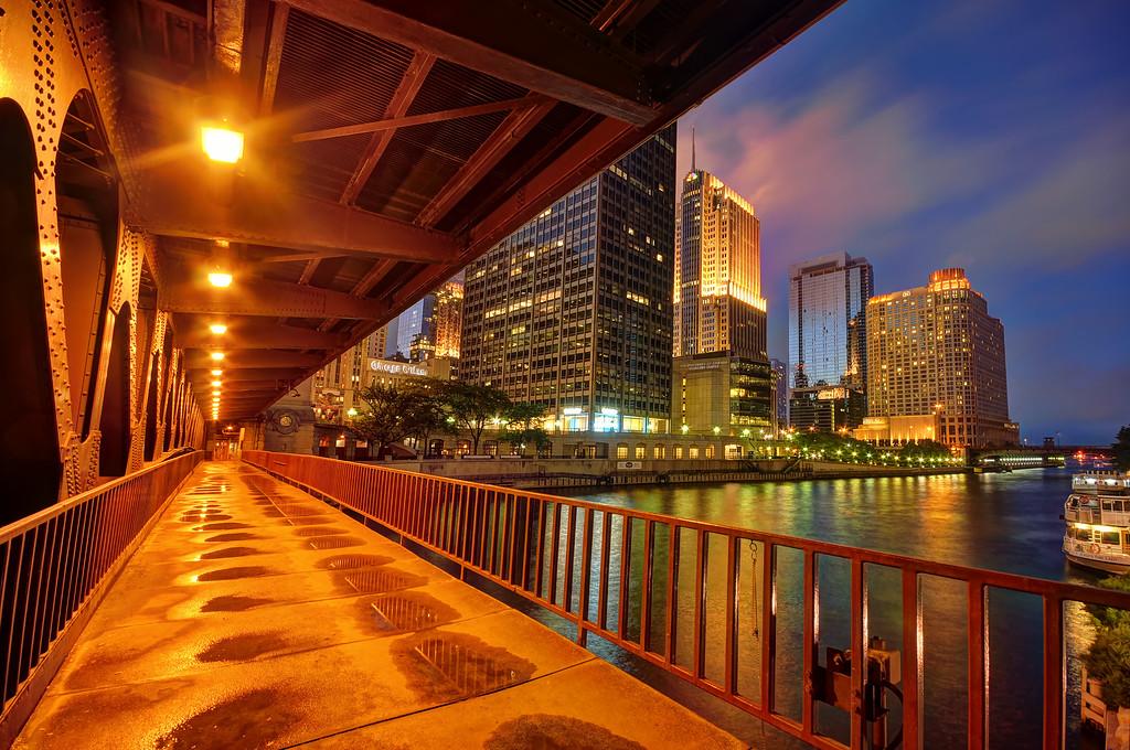 Downtown Chicago viewed from under Michigan Avenue bridge