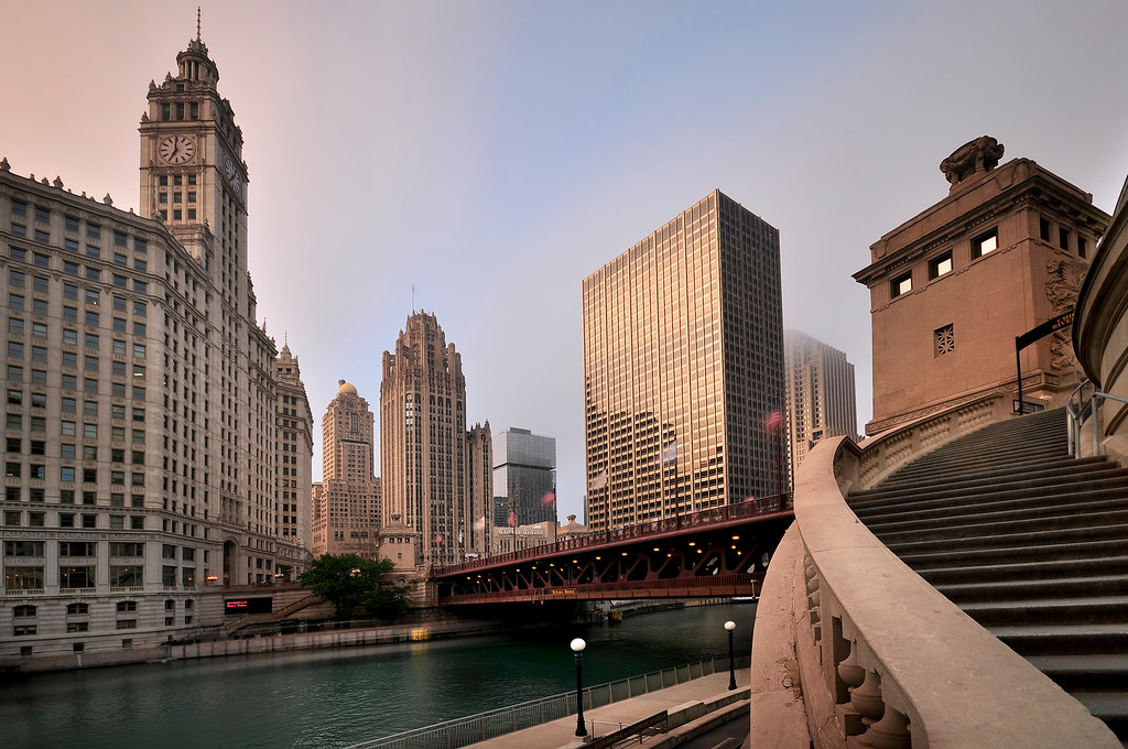 Wide Angle view of Downtown Chicago, Illinois