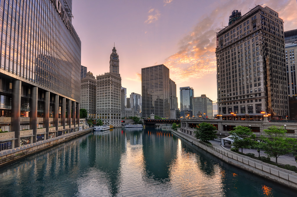 Beautiful sunset above Chicago River, Chicago, Illinois
