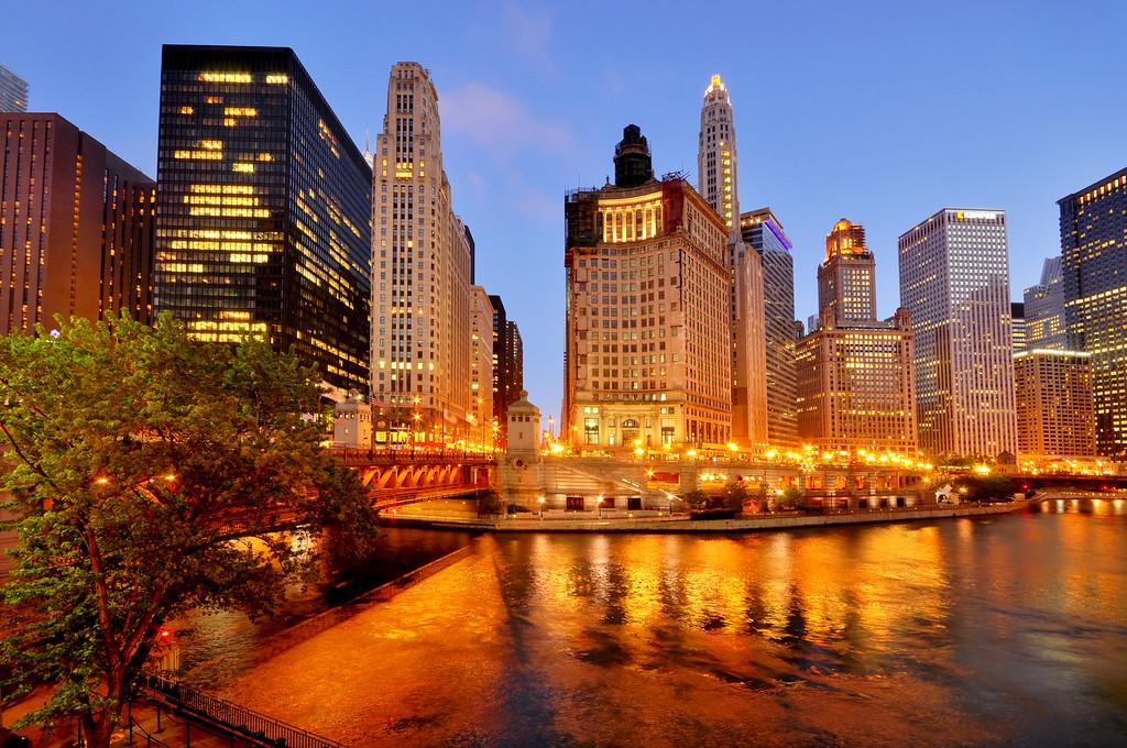 Downtown Chicago illuminated at night, Illinois
