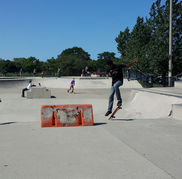 At the skatepark on Wilson ave.