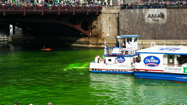 Chicago River on St. Patty's Day