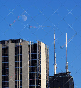 Chicago's John Hancock Tower with Moon