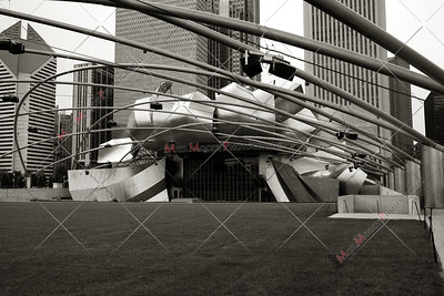 Chicago Illinois city view from Millenium park - black and white