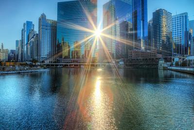 Sun Rising on Chicago River