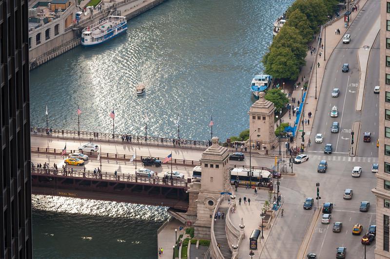 Chicago River aerial of Michigan Avenue bridge DuSable bridge and East Wacker Drive