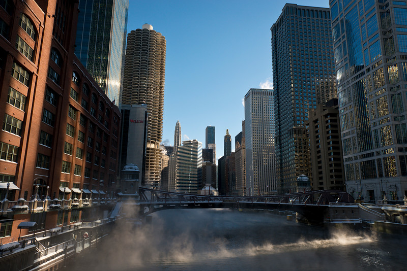 The Chicago River, winter