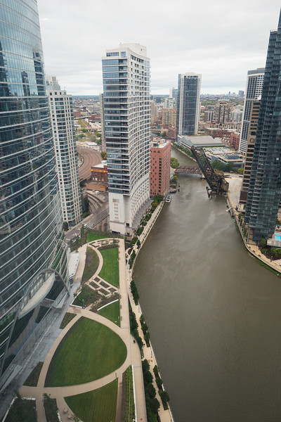 Aerial of 444 W Lake River Point riverfront riverside park with Chicago River flooding