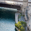 Chicago River aerial of Michigan Avenue bridge DuSable bridge and East riverwalk