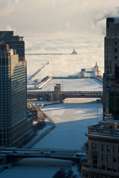 Chicago River and Chicago Harbor Lighthouse in Winter