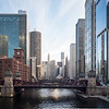Chicago River and LaSalle Street Bridge aerial winter beauty