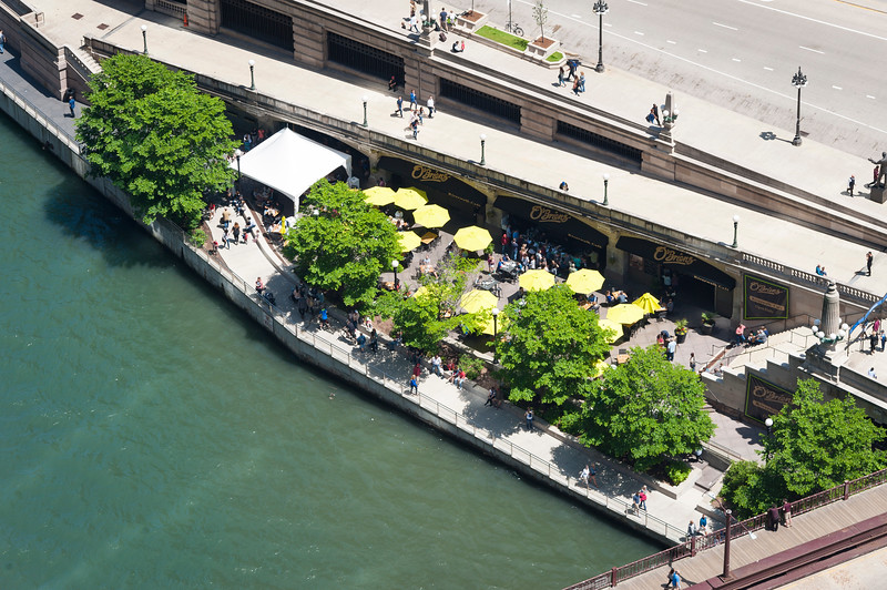 Chicago River aerial O'Brien's Riverwalk Cafe on the Riverwalk near Wabash Avenue bridge