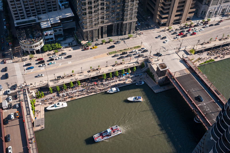 Aerial of Wacker Drive and Marina Plaza riverwalk between State Street and Dearborn Street bridges Chicago River
