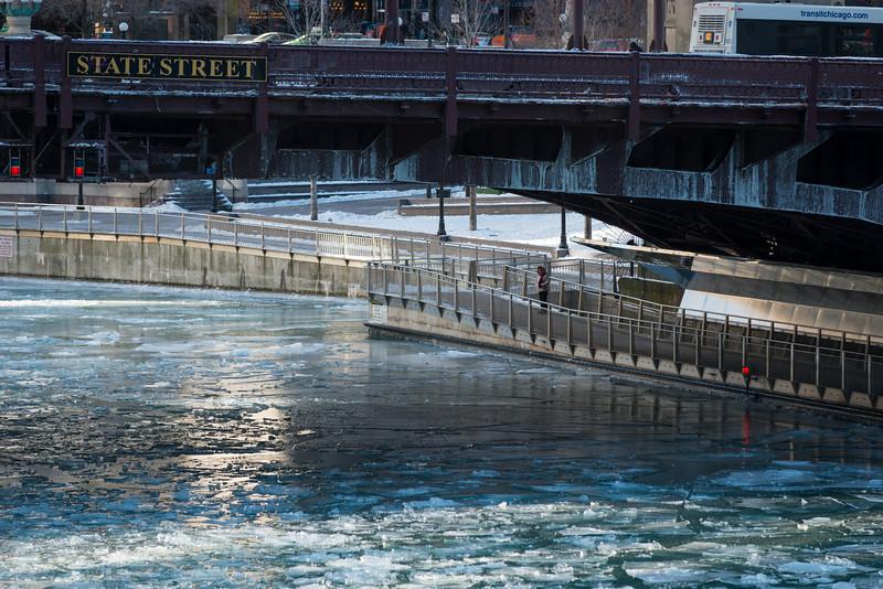 Ice on Chicago River riverwalk winter