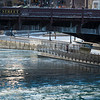 Ice on Chicago River riverwalk winter