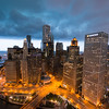 East-ward aerial view of the Chicago River just before a storm