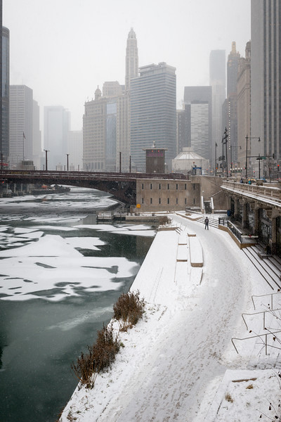 Winter snow on Riverwalk Cove ice on Chicago River