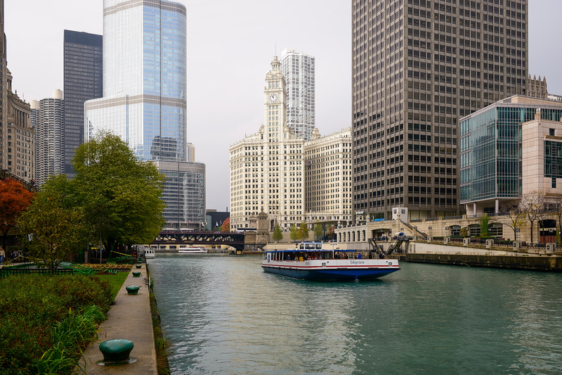 Main branch Chicago River with river boat cruise architecture tour tourism and Wrigley Building