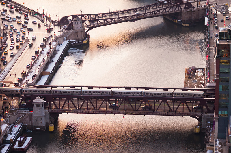 Aerial view of the Chicago River and the Chicago Transit Authority Brown Line train